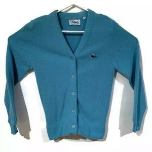 Vintage Lacoste Cardigan Sweater Light Blue
